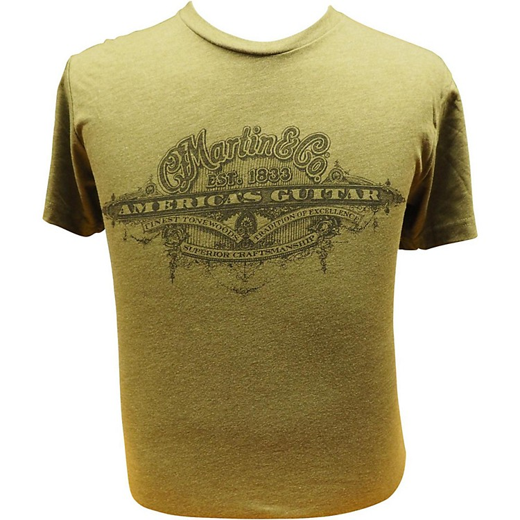 Martin America's Guitar - Black Logo on Military Green T-Shirt XXX Large