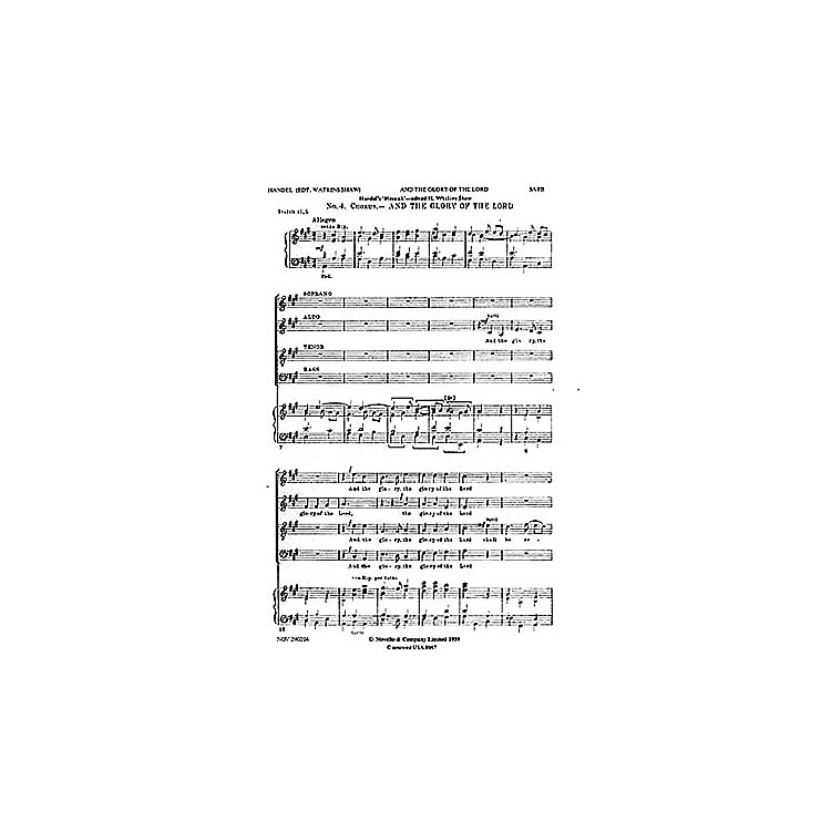 NovelloAnd the Glory of the Lord (from Messiah) SATB Composed by George Frideric Handel