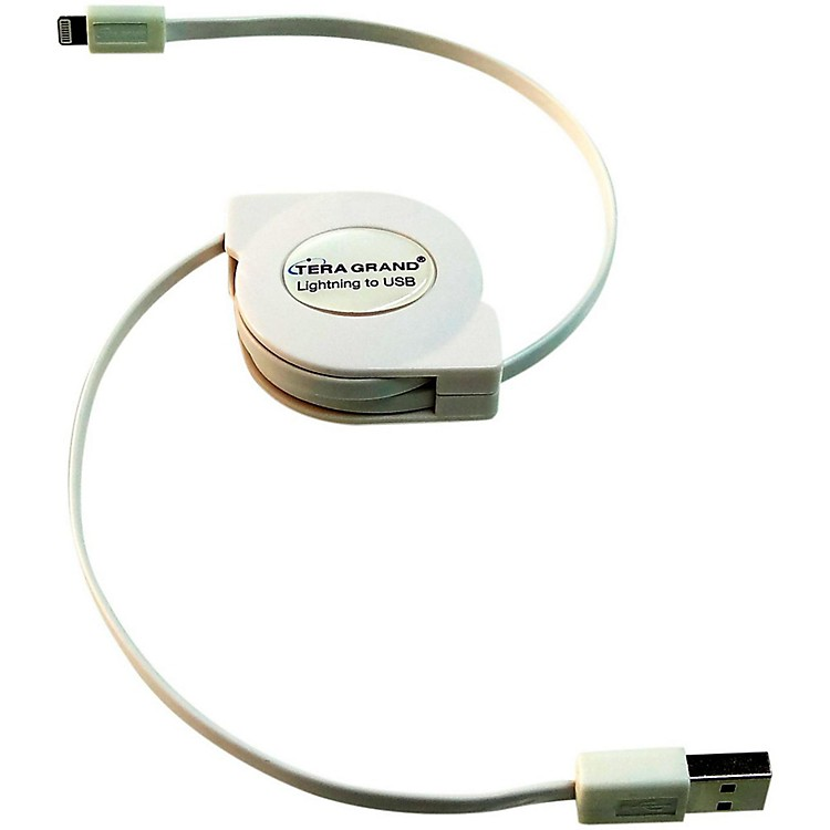 Tera Grand Apple Certified Retractable Lightning Cable White 4 ft.