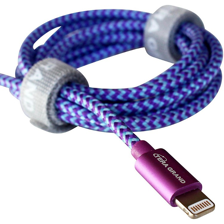 Tera Grand Apple MFi Certified - Lightning to USB Braided Cable with Aluminum Housing 4 ft. Purple and Blue