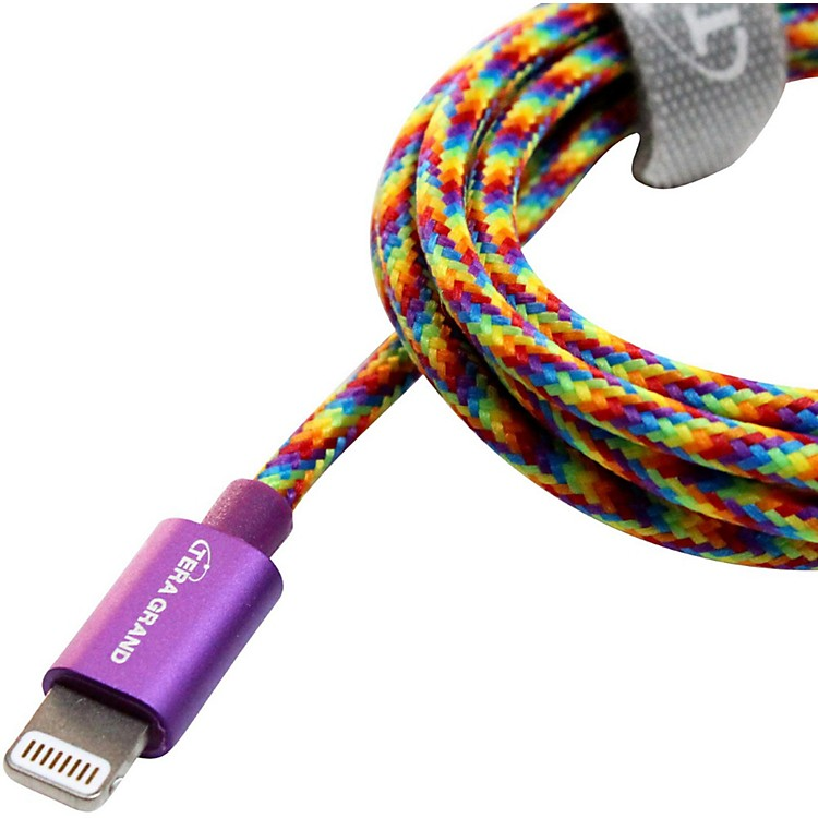 Tera GrandApple MFi Certified Lightning to USB Braided Cable with Aluminum Housing4 ft.Rainbow