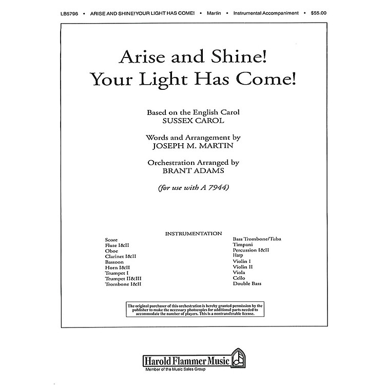 Shawnee PressArise and Shine! Your Light Has Come! (from Journey of Promises) Score & Parts arranged by Brant Adams