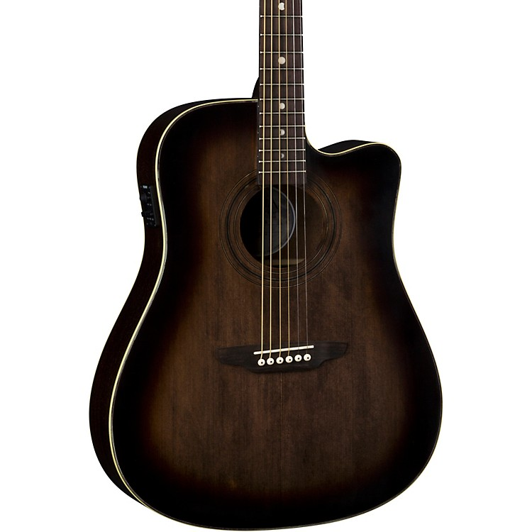 Luna GuitarsArt Vintage Dreadnought Cutaway Acoustic-Electric GuitarDistressed Vintage Brownburst
