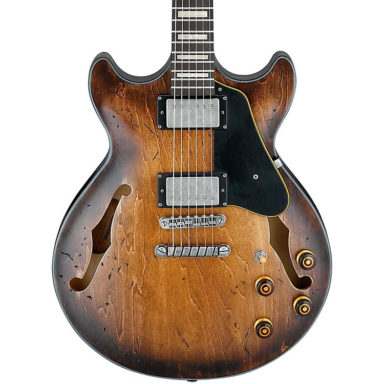 Ibanez Artcore Vintage Series AMV10A Semi-Hollow Body Electric Guitar Tobacco Burst Low Gloss