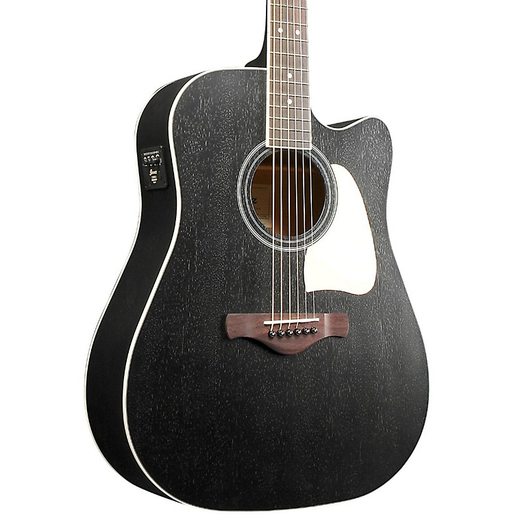 IbanezArtwood AW360CEWK Solid Top Dreadnought Acoustic-Electric GuitarWeathered Black