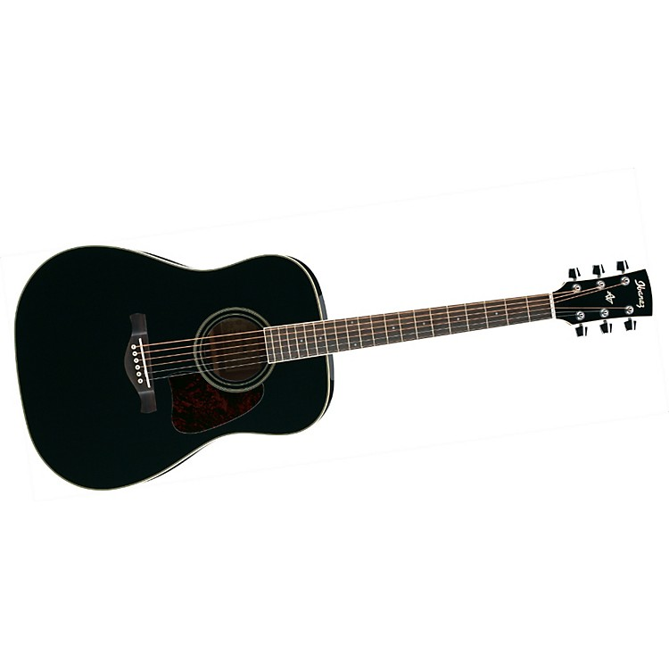 Ibanez Artwood Series AW70 Solid Top Dreadnought Acoustic Guitar Black