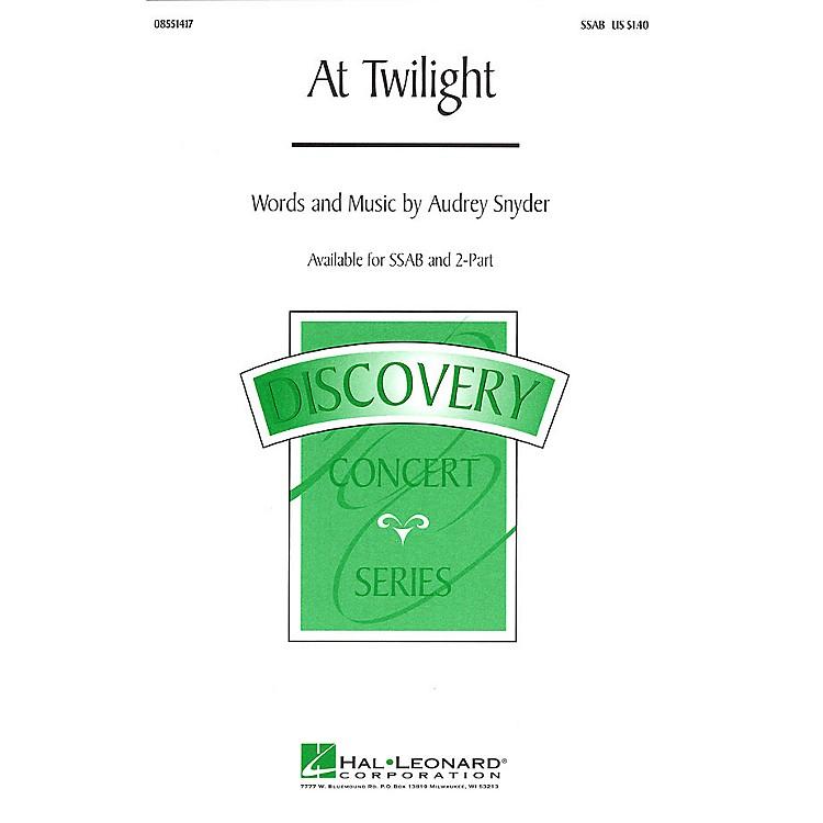 Hal LeonardAt Twilight 2-Part Composed by Audrey Snyder