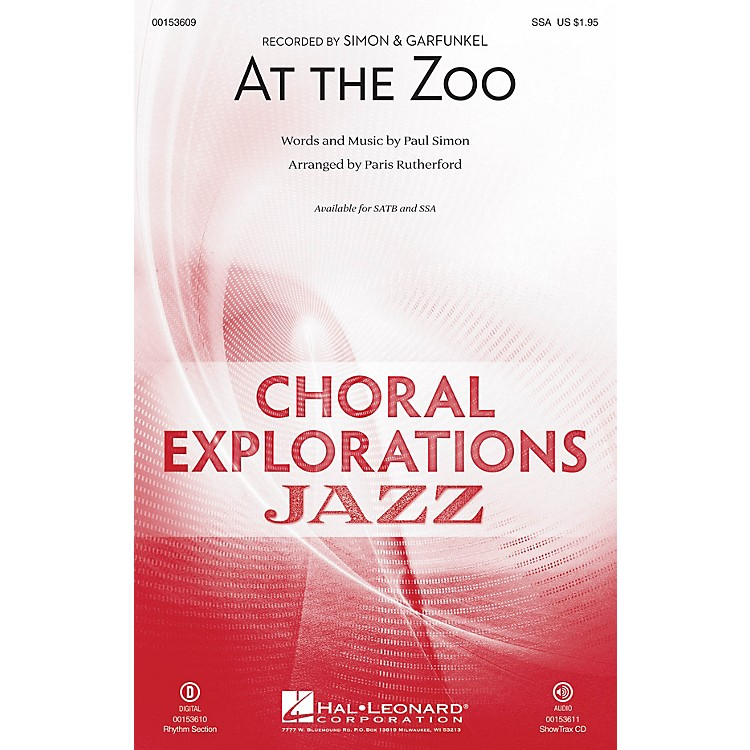 Hal LeonardAt the Zoo SSA arranged by Paris Rutherford