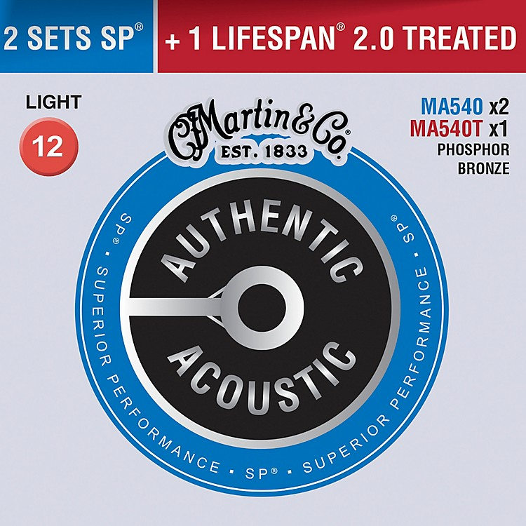 MartinAuthentic Acoustic Value Pack Phosphor Bronze Light Guitar Strings