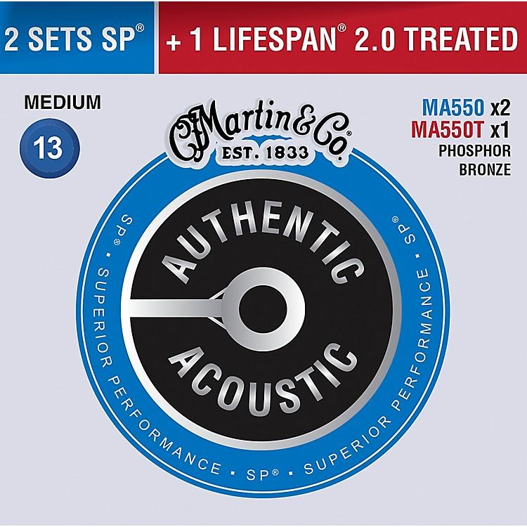 MartinAuthentic Acoustic Value Pack Phosphor Bronze Medium Guitar Strings