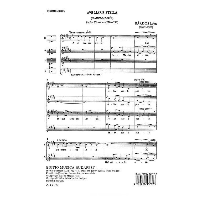 Editio Musica BudapestAve Maria Stella SATB Composed by Lajos Bárdos