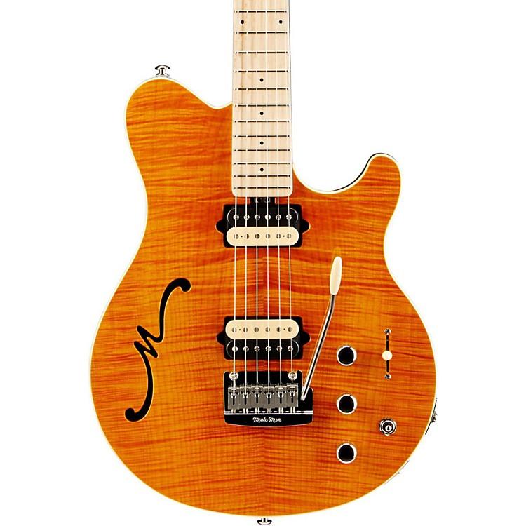 Ernie Ball Music ManAxis Super Sport HH Hollowbody Electric Guitar with Tremolo/Piezo BridgeTransparent Gold
