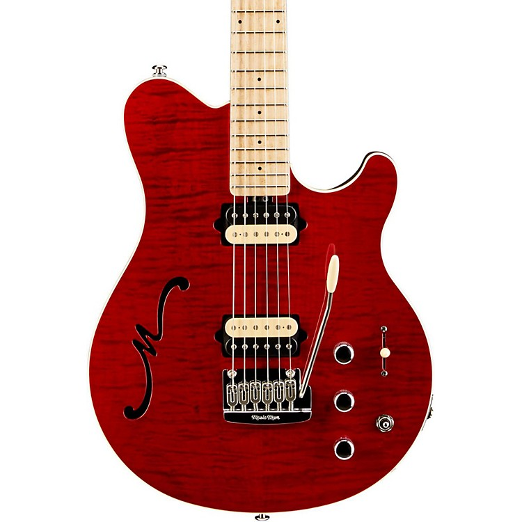Ernie Ball Music Man Axis Super Sport HH Hollowbody Electric Guitar with Tremolo/Piezo Bridge Transparent Red