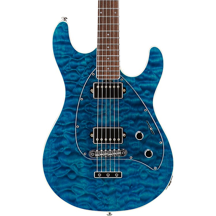 Ernie Ball Music ManBFR Steve Morse HH Quilt Top Electric Guitar w/Reverse HeadstockBlue