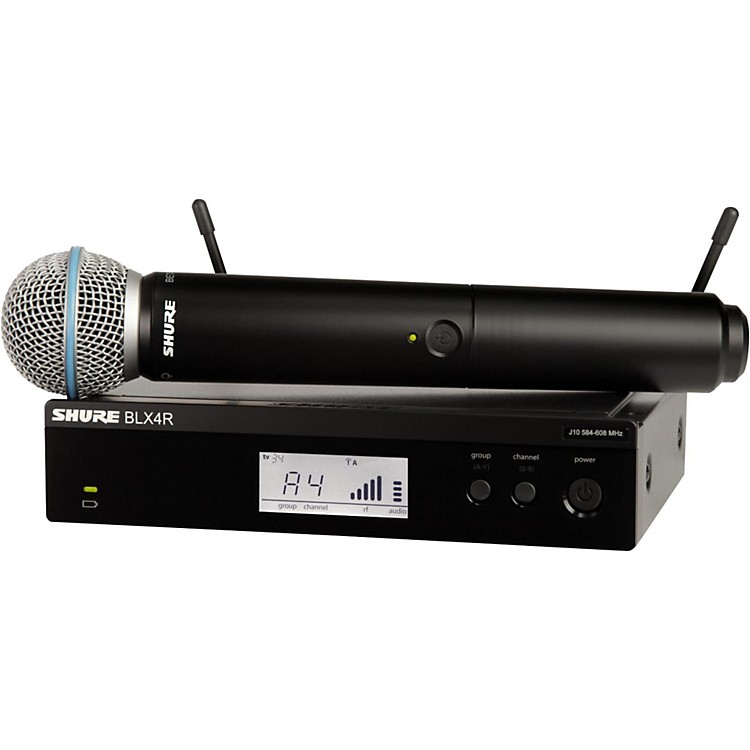 Shure BLX24R/B58 Wireless System with Rackmountable Receiver and Beta 58A Microphone Capsule Band H9