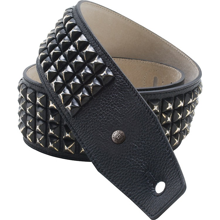 DunlopBMF Leather Guitar Strap with Distressed Black Studs