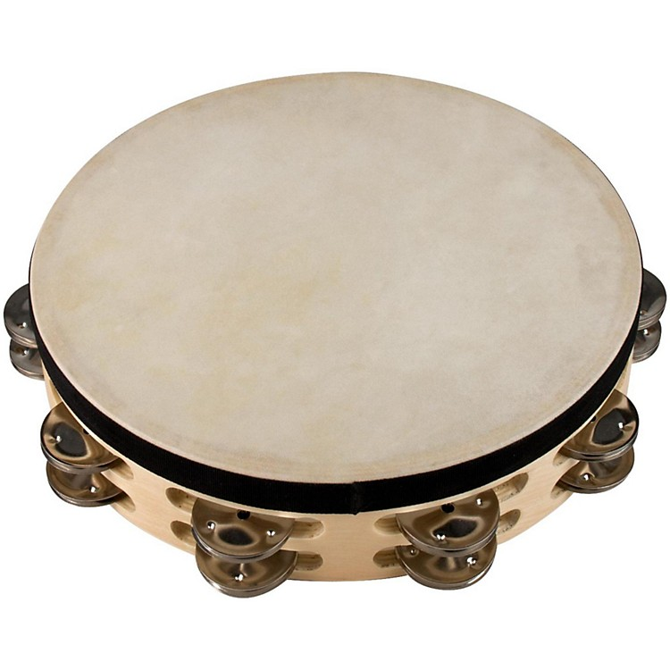 Sound Percussion Labs Baja Percussion Double Row Tambourine with Steel Jingles 10 in. Natural