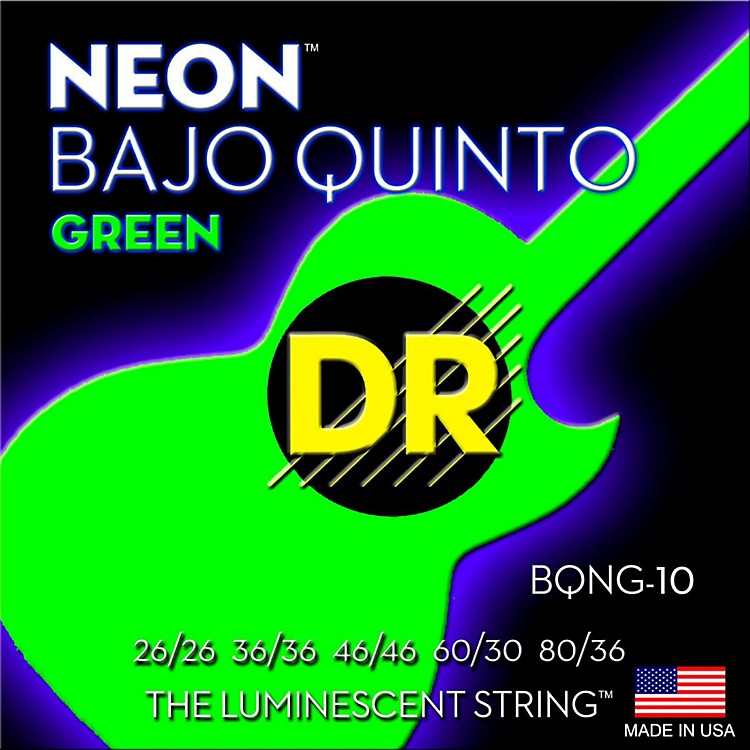DR StringsBajo Quinto Neon Green Coated 10 String