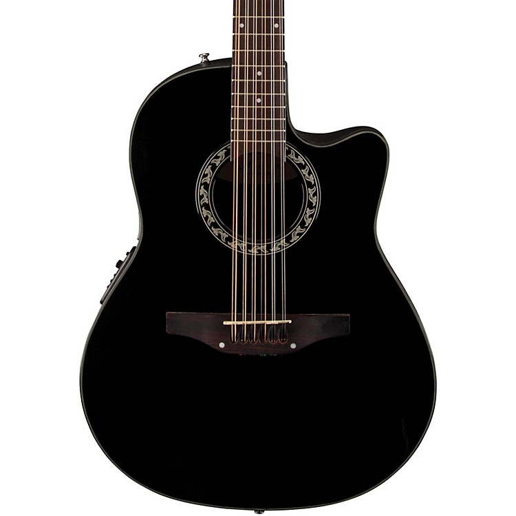Applause Balladeer 12-String Mid Depth Bowl Acoustic-Electric Guitar Black