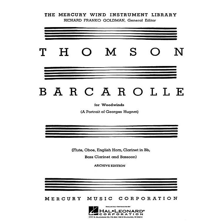 G. SchirmerBarcarolle (A Portrait of Georges Hugnet) (Score and Parts) Woodwind Ensemble Series by Virgil Thomson