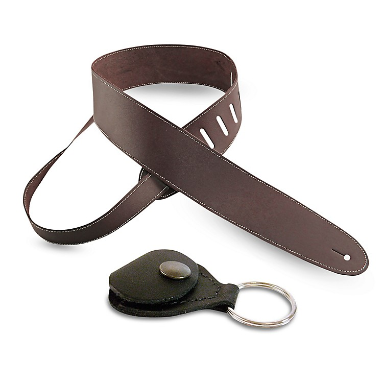 Perri'sBasic Leather Guitar Strap with Leather Guitar Pick Key ChainBrown2.5 in.