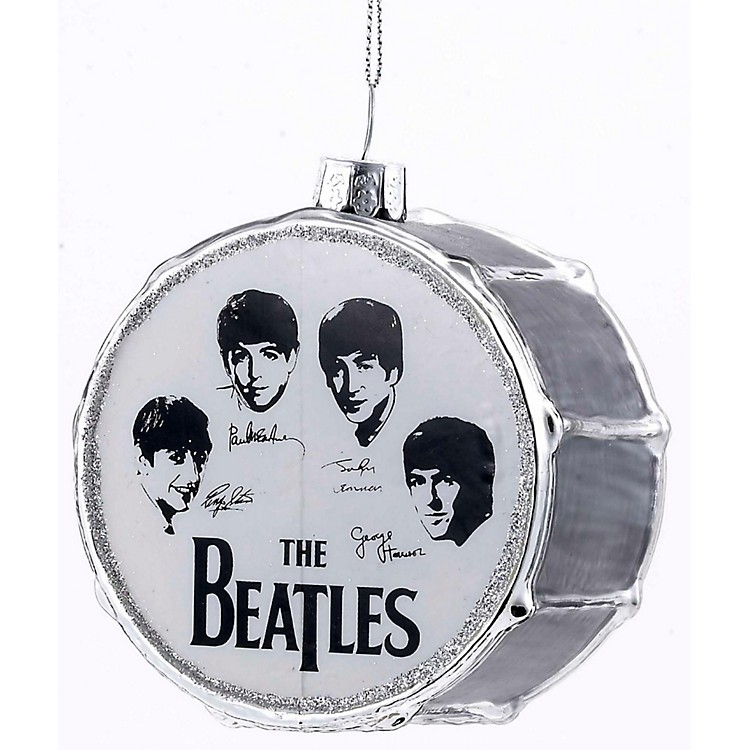 Kurt S. Adler Beatles Glass Silver Drum Ornament