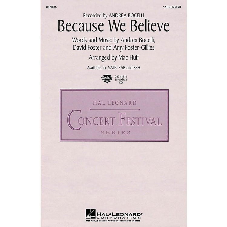 Hal LeonardBecause We Believe ShowTrax CD by Andrea Bocelli Arranged by Mac Huff