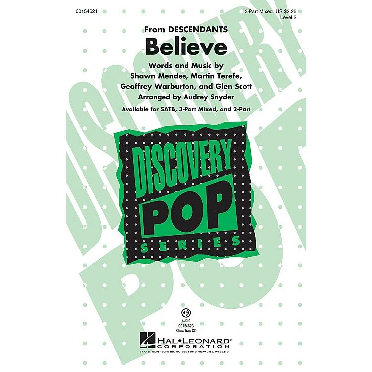 Hal Leonard Believe (Discovery Level 2) 3-Part Mixed arranged by Audrey Snyder