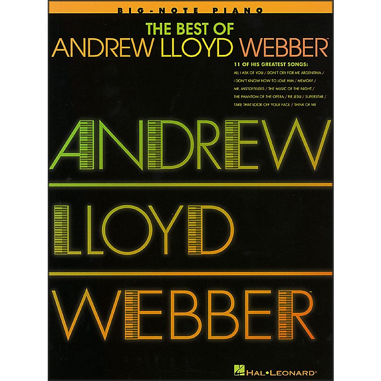 Hal Leonard Best Of Andrew Lloyd Webber - 11 Of His Greatest Songs for Big Note Piano