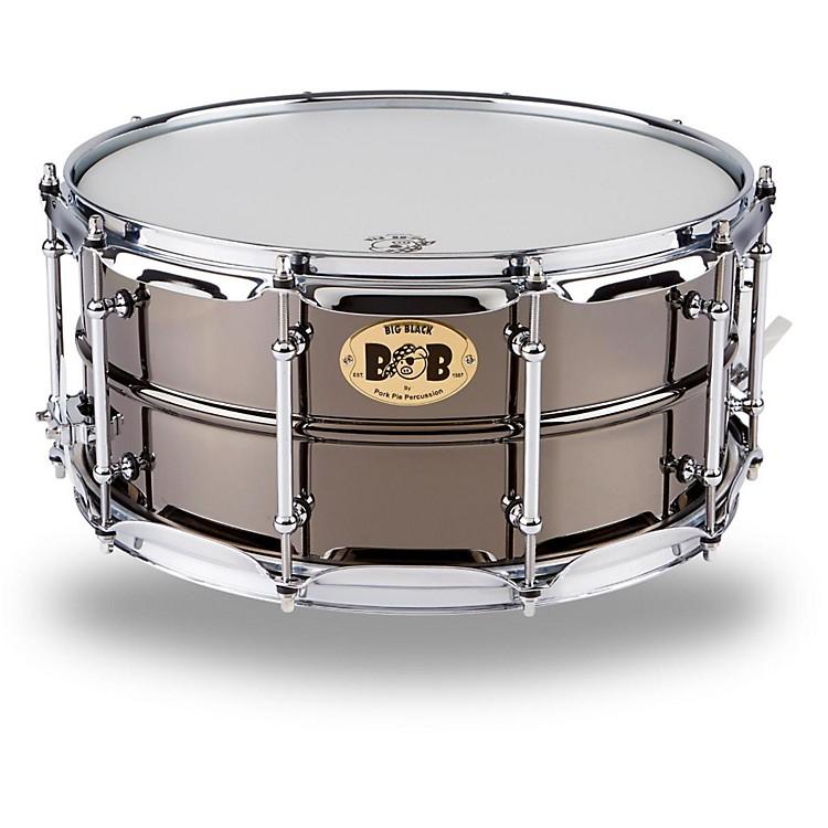 Pork PieBig Black Brass Snare Drum with Tube Lugs and Chrome HardwareBlack14 x 6.5 in.