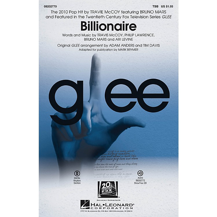 Hal LeonardBillionaire (featured in Glee) ShowTrax CD by Glee Cast Arranged by Adam Anders