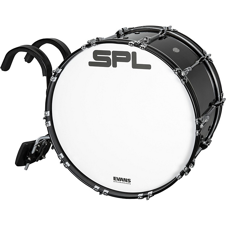 Sound Percussion Labs Birch Marching Bass Drum with Carrier - Black 18 x 14 in.