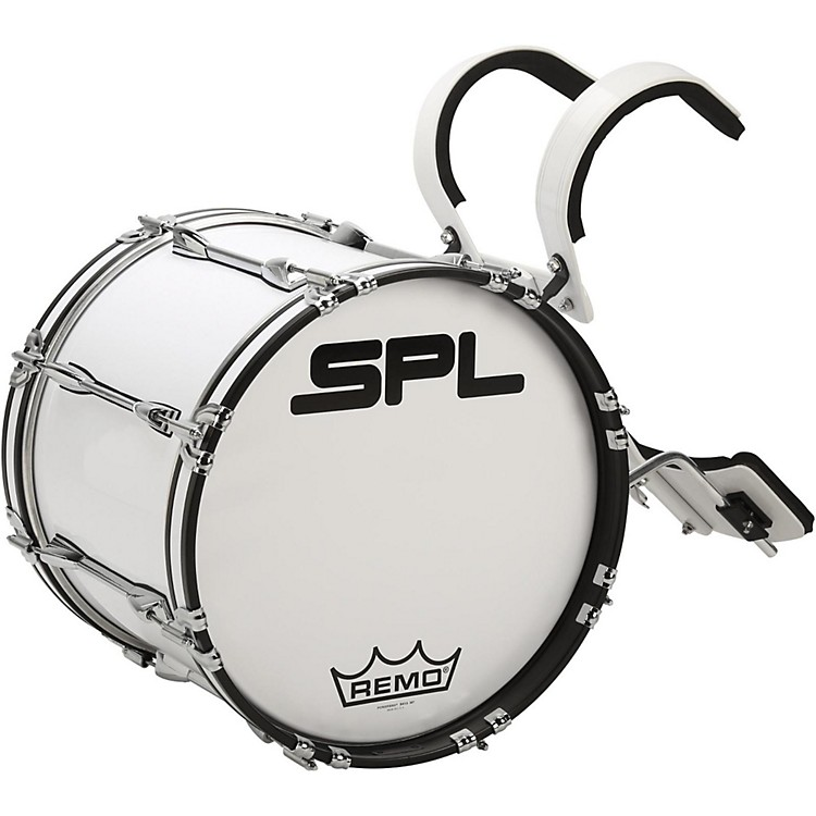 Sound Percussion Labs Birch Marching Bass Drum with Carrier 16 x 14 in. White
