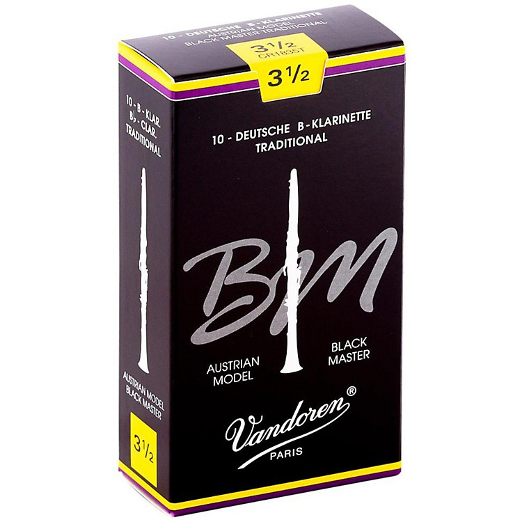 VandorenBlack Master Traditional Bb Clarinet ReedsBox of 10, Strength 3.5