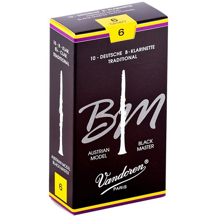 Vandoren Black Master Traditional Bb Clarinet Reeds Box of 10, Strength 6+
