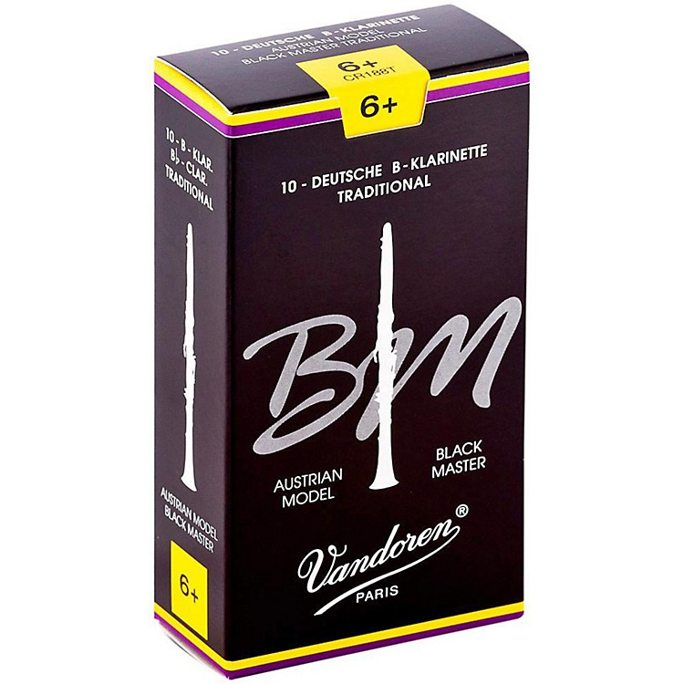 VandorenBlack Master Traditional Bb Clarinet ReedsBox of 10, Strength 6+