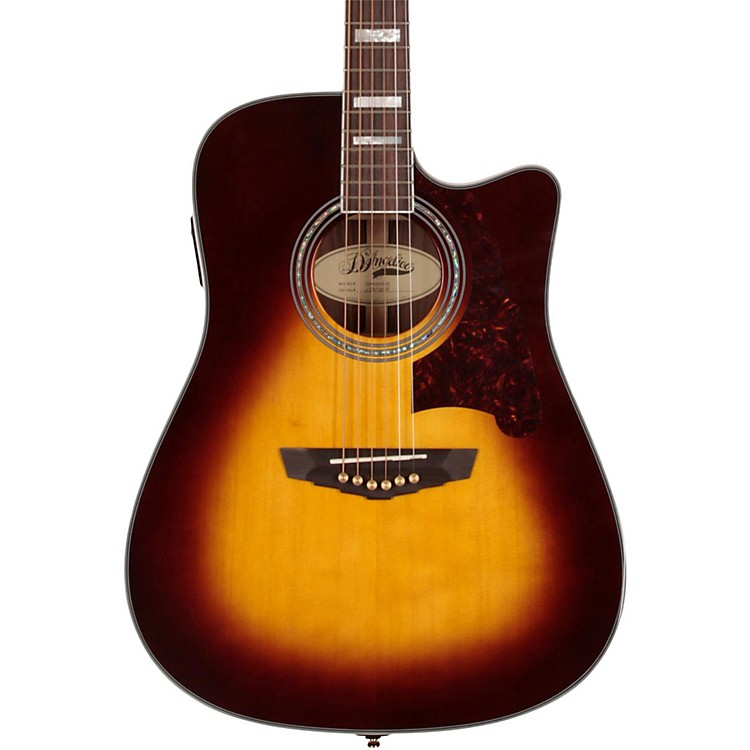 D'Angelico Bowery Dreadnought Cutaway Acoustic-Electric Guitar Vintage Sunburst