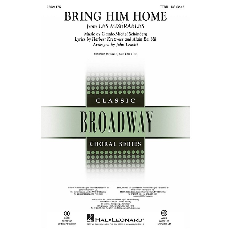 Hal Leonard Bring Him Home (from Les Misérables) TTBB arranged by John Leavitt