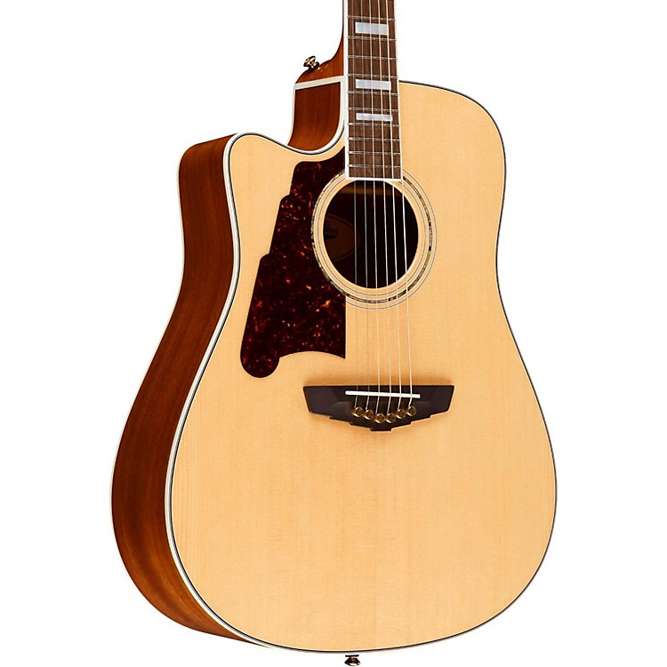 D'Angelico Brooklyn Dreadnought Left-Handed Cutaway Acoustic-Electric Guitar Natural