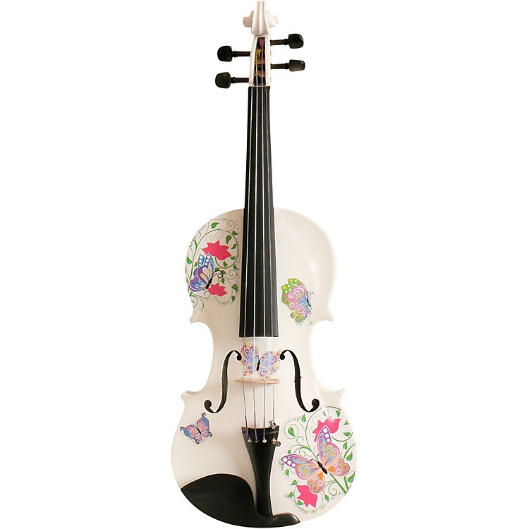 Rozanna's Violins Butterfly Dream White Glitter Series Violin Outfit 4/4