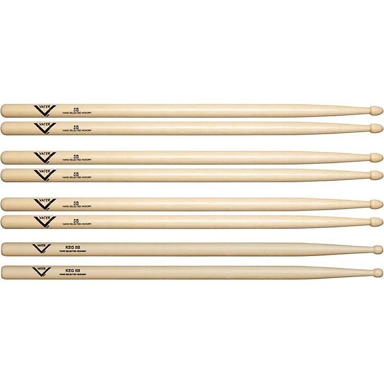 VaterBuy 3 - 5B Wood Drum Sticks, Get 1 Free KEG 5B