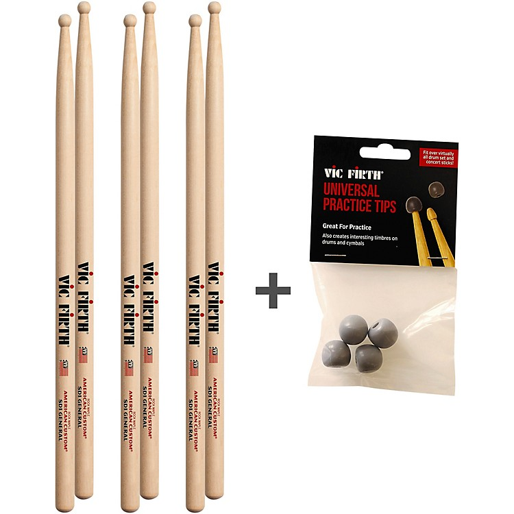 Vic FirthBuy 3 Pairs of SD1 Sticks and Receive a Free Pack Universal Practice TipsWood