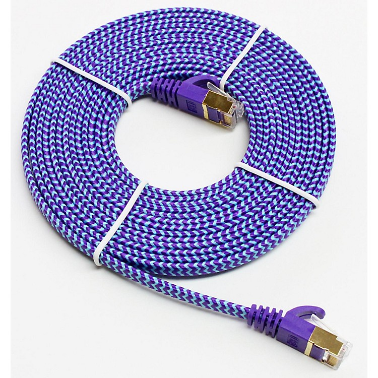 Tera GrandCAT-7 10 Gigabit Ultra Flat Ethernet Patch Braided Cable12 ft.Purple and Blue
