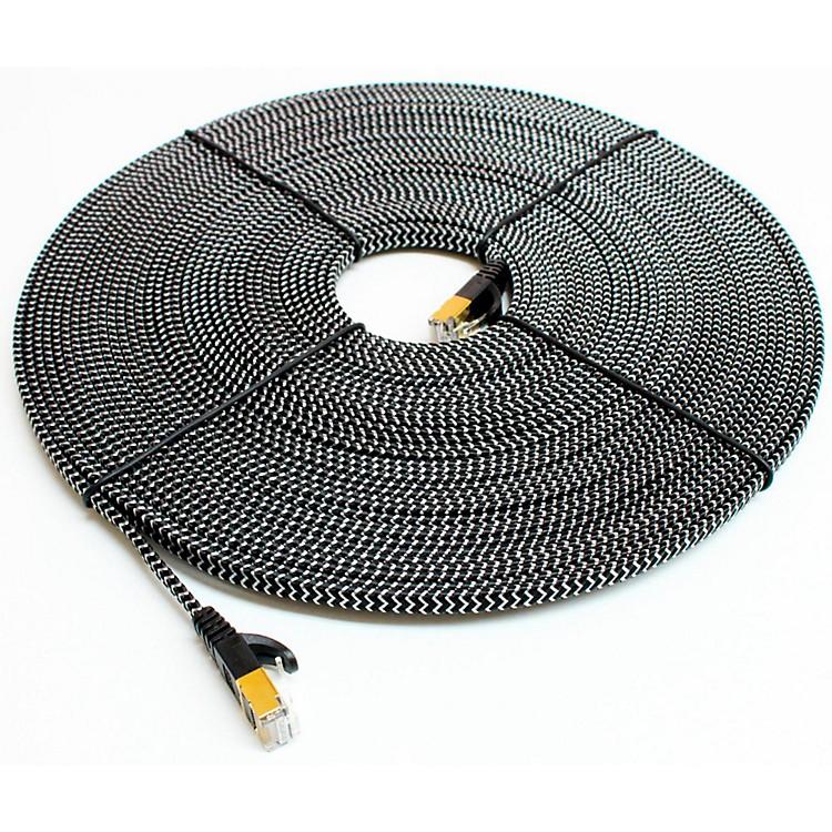Tera GrandCAT7 10 Gigabit Ethernet Ultra Flat Braided Cable, Black/White6 ft.Black and White