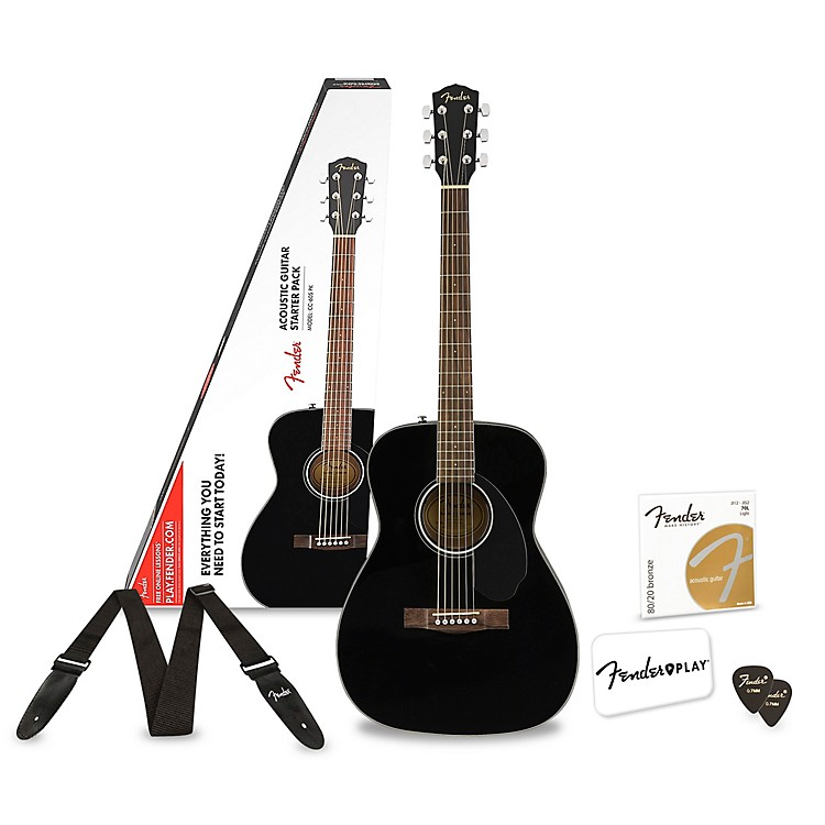FenderCC-60S Concert Acoustic Guitar Pack With 3 Free Months Fender PlayBlack