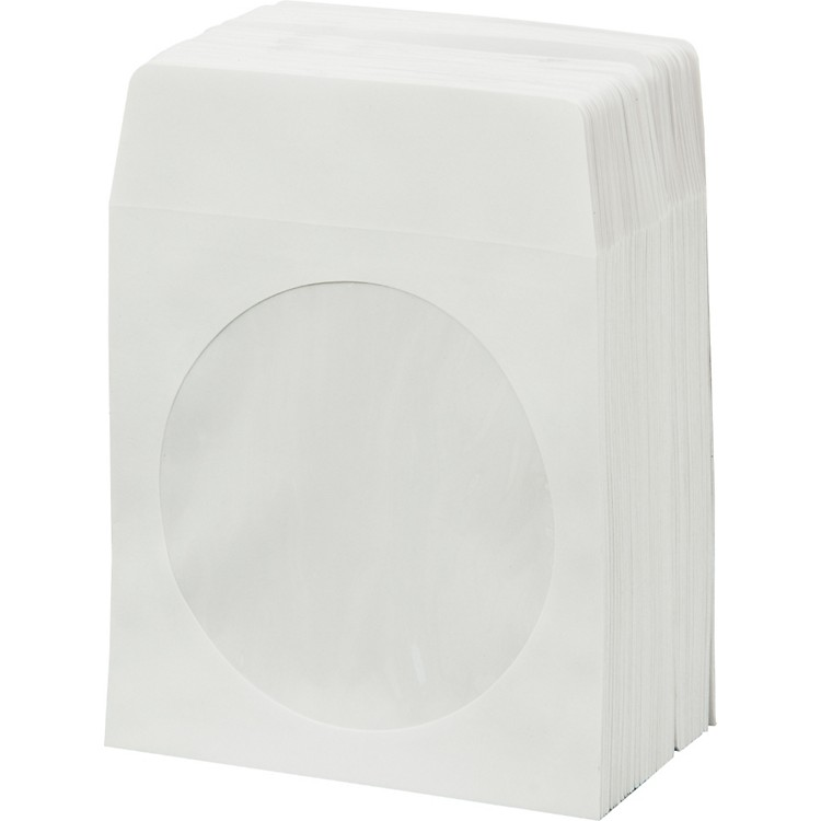 BK MediaCD & DVD Paper Sleeves with Window 100-Pack