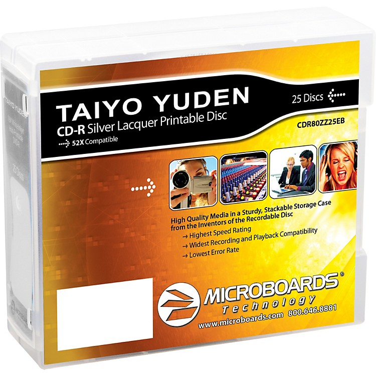 Taiyo YudenCD-R 52X Silver Thermal Lacquer 25-Disc Spindle