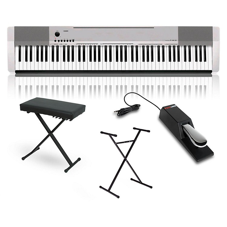 Casio CDP-130 Digital Piano Silver with Stand Sustain Pedal and Deluxe Keyboard Bench