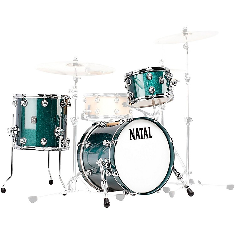 Natal Drums Cafe Racer Traditional Jazz 3-Piece Shell Pack with 18 in. Bass Drum British Racing Green Sparkle