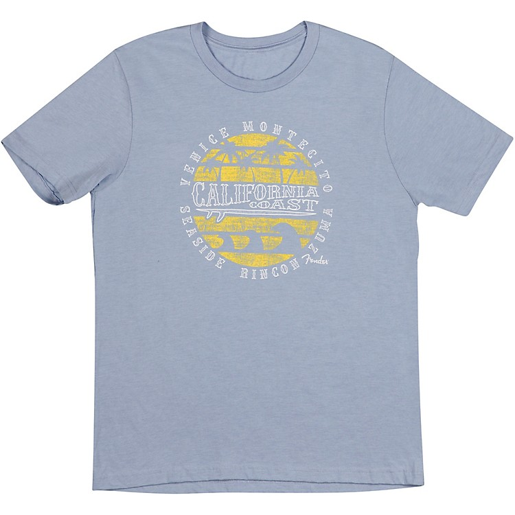 FenderCali Coastal Yellow Waves Men's T-ShirtsSmallGray